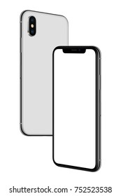 Soaring in the air smartphones mockup. New modern white frameless smartphones mockup with blank white screen and back side hovering in the air turned towards each other. Isolated.
