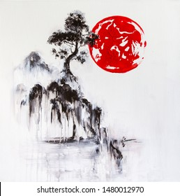"""""""Soaring island"""" original artwork, a japaneese style pine on a rocky cliff overlooking a misty waters of a river"""