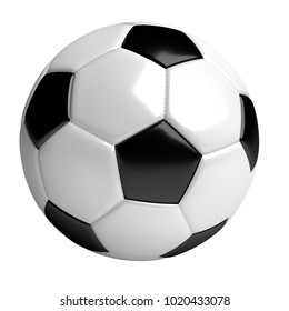 soccer ball, 3d rendered illustration, isolated on white background with clipping path included