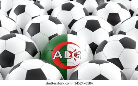 Soccer ball in Algeria national colors - 3D Rendering