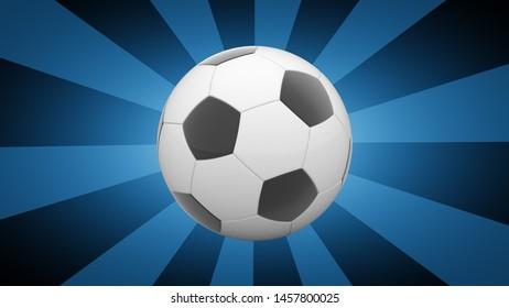 Soccer ball in blue background. 3D Illustration.