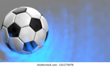Soccer ball with blue flash light flare under black background. 3D illustration.