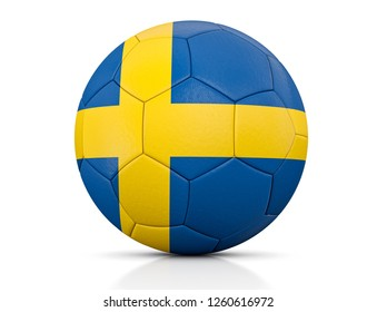 Soccer Ball, Classic soccer ball painted with the colors of the flag of Sweden and apparent leather texture in studio, 3D illustration
