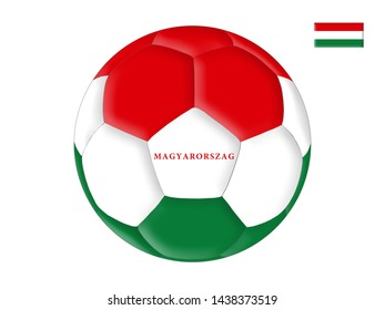 Soccer ball in colors of the flag of Hungary (Magyarorszag)