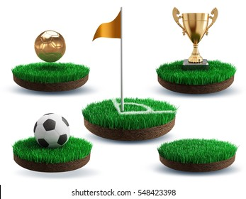 Soccer ball, corner flag, trophy cup, gold on an island of grass - 3d render illustration