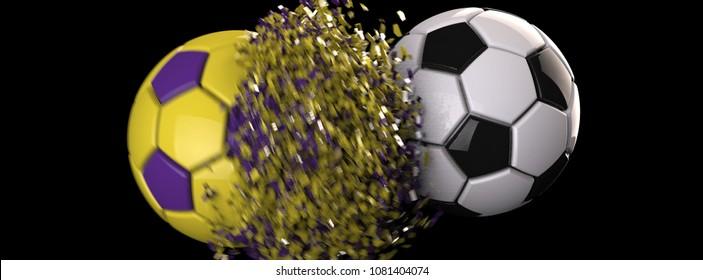 soccer ball crash purpleyellow cracked 260nw 1081404074
