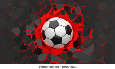 Soccer ball crash red lighting wall and wall was cracked. 3D illustration. 3D high quality rendering.