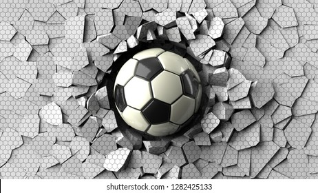 Soccer ball crash white tile wall and the wall was cracked under black-white background. 3D high quality rendering.