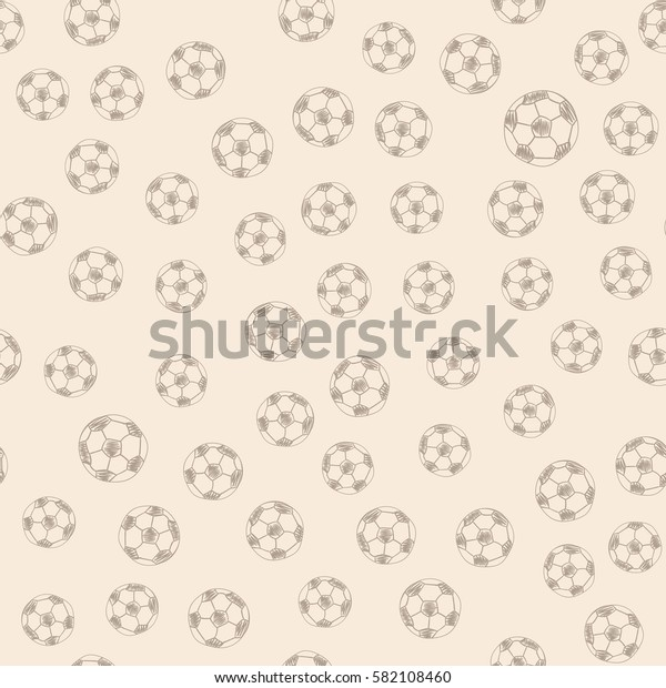 Soccer ball doodle hand drawn icons seamless pattern, tiling ornament. illustration