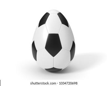 soccer ball as easter egg. easter concept with sport theme. 3d illustration.