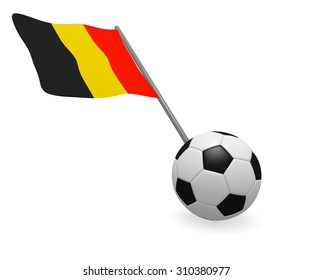 Soccer ball with the flag of Belgium on a white background