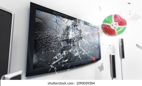 Soccer ball with the flag of Burundi flying through a shattering tv screen.(3D rendering series)