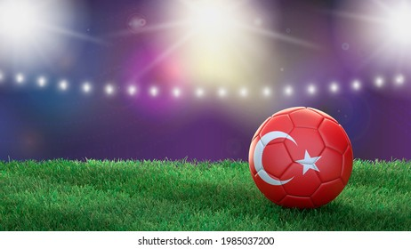 Soccer ball in flag colors on a bright blurred stadium background. Turkey. 3D image