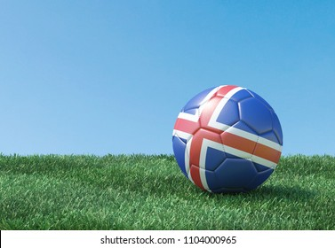 Soccer ball in flag colours on green grass. Iceland. 3d image