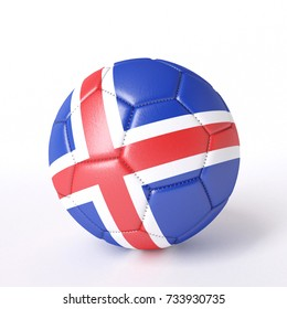 Soccer ball with flag. Iceland. 3d image
