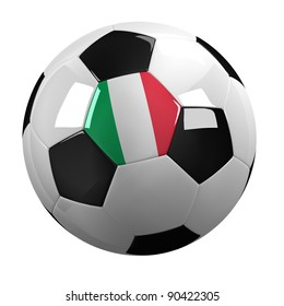 Soccer Ball with the flag of Italy on it - highly detailed clipping path included