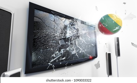 Soccer ball with the flag of Lithuania flying through a shattering tv screen.(3D rendering series)