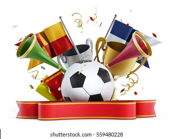 Soccer ball, flags, red ribbon and trumpets. 3D illustration