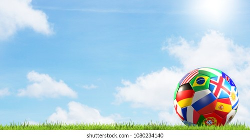 soccer ball flags Russia 3d rendering