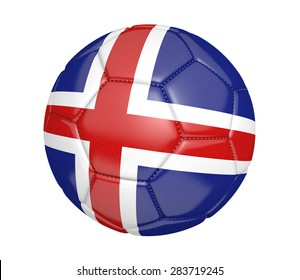 Soccer ball, or football, with the country flag of Iceland