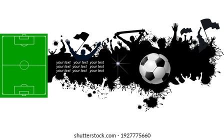 Soccer ball and football field and silhouette fan stand up and hand flag, crowd at seat on soccer stadium