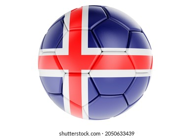 Soccer ball or football ball with Icelandic flag, 3D rendering isolated on white background