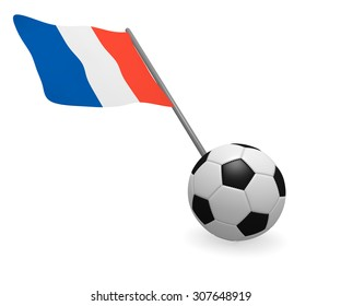 Soccer ball with French flag on a white background