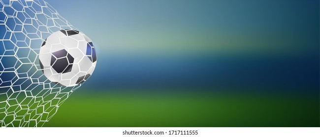 Soccer ball in goal. Football match goal moment with ball in the net, mesh. Template for football or soccer games, tournaments, championships. 3D illustration.