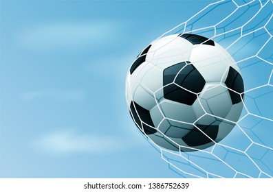 Soccer ball in goal net with blue sky. Realistic football in net with copy space for text. Illustration stock.