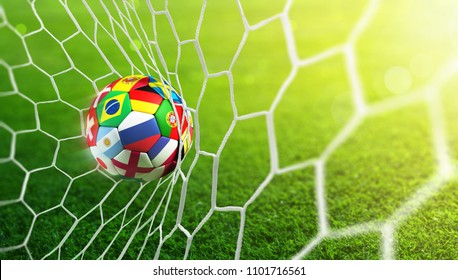 Soccer Ball In Goal - Russia 2018 - Contain 3d Illustration