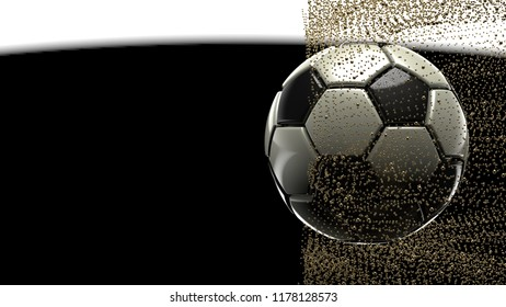Soccer ball with gold splash in the shape of stars.  3D high quality rendering.