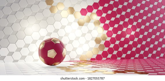 soccer ball and hexagonal design colored as the flag of Qatar. 3d-illustration