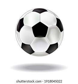 Soccer ball icon in trendy realistic style isolated on gray background. Soccer ball pictogram. website design, logo, application, interface.