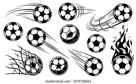 Soccer ball icons in motion. illustration
