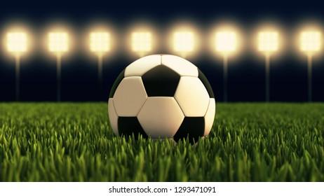 Soccer ball - illuminated football stadium 3D illustration