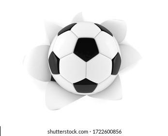 Soccer ball inside hole from torn paper. 3d illustration