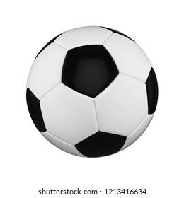 Soccer ball isolated on white background. Black and white football ball. 3d render illustration of sport equipment.