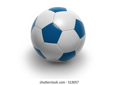 Soccer ball isolated on white background. Photorealistic 3D rendering. (blue and white, see portfolio for more colors)