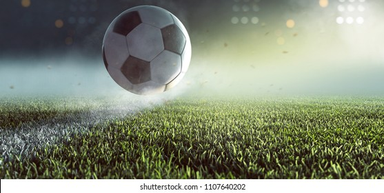 Soccer ball jumps over the line (3D Rendering)