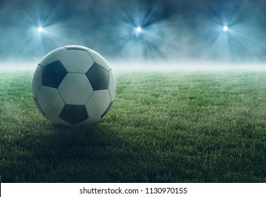 Soccer ball lays in flood light (3D Rendering)