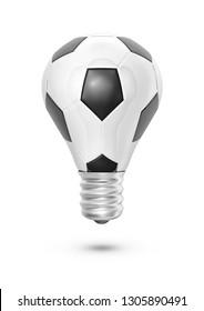 Soccer ball light bulb / 3D illustration of light bulb shaped soccer ball isolated on white background