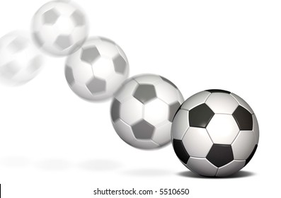Soccer ball in motion with a blur