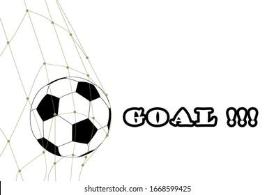 Soccer ball in the net of football gate on white background. Goal ball symbol for sport game banner.