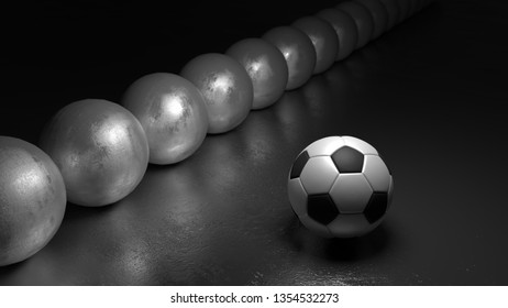 Soccer ball next to a row of spheres standing out from the crowd concept 3D illustration