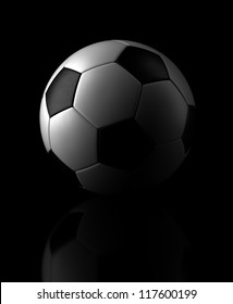 Soccer ball on black background (Computer generated image)
