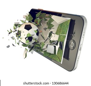 A Soccer ball on cell phone. Broken glass mobile phone with football