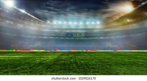 Soccer ball on the field of stadium with light . 3D illustration 3D rendering