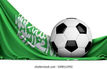 Soccer ball on the flag of Saudi Arabia. Football background. 3D Rendering