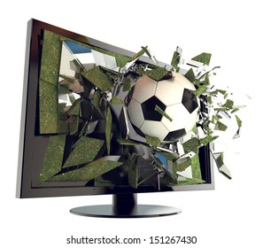 A Soccer ball on TV. Abstract 3d Broken glass of a television with football. Live football game broadcasting concept. Fun and exciting.