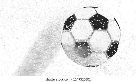 A soccer ball of particles. A soccer ball consists of small circles and dots. 3D sketch design and illustration. 3D high quality rendering.